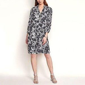 Ann Taylor Floral Pleated Sleeve Shift Dress in Wi